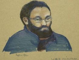 رسم توضيحي للتونسي شهيب الصغير أثناء مثوله أمام محكمة مونتريال