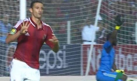 اللاعب أحمد عبد الظاهر بعد احراز الهدف