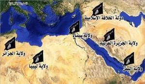 """خريطة لـ""""داعش"""" تضم سيناء والسعودية وليبيا والجزائر واليمن"""