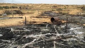 آثار حرق جيش السيسي منطقة العجراء