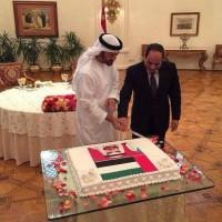 محمد بن زايد يده فوق يد السيسي،في مشهد غريب تماما على البروتوكلات الرئاسية