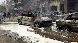 آثار تفجير موكب نائب عام الانقلاب