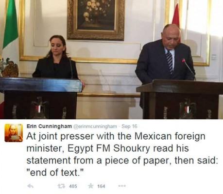 وزير خارجية السيسي يقرأ بيان بدون فهم معاني الكلمات