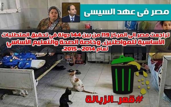 السيسي ينحدر بمصر نحو قعر الزبالة