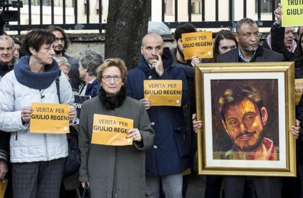 مظاهرة ضد الانقلاب بسبب تعذيب وقتل ريجيني