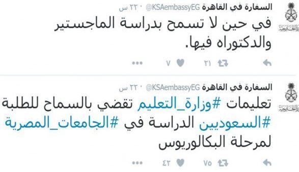 السعودية تمنع طلابها من الدراسات العليا في الجامعات المصرية