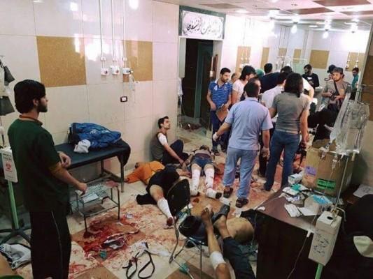 الاصابات في المستشفى بعد القصف الروسي لحلب