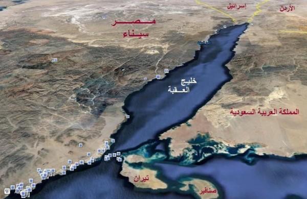 تيران وصنافير خريطة