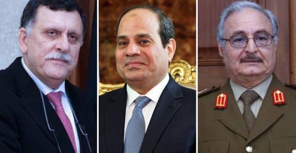 حفتر والسيسي والسراج في الامارات