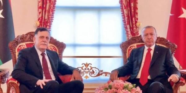 الرئيس التركي رجب طيب أردوغان، ورئيس المجلس الرئاسي فائز السراج